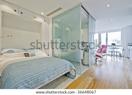 Luxury suite or studio apartment with marble - stock photo
