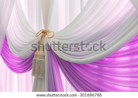 Luxury sweet white and pink curtain and tassel - stock photo