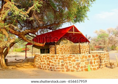 Luxury tent house with stone walled private bathroom in rustic African safari c& Namibia & Luxury Tent House Stone Walled Private Stock Photo 656657959 ...