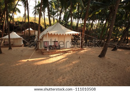 Luxury tent on Cola beach, Goa, India - stock photo