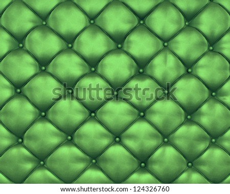 Luxury texture of green leather furniture with buttons