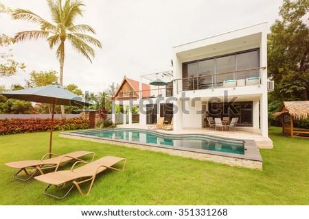 Luxury Tropical villa - stock photo