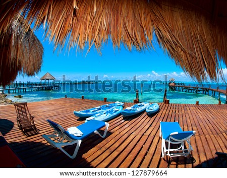 Luxury Vacation Concept. Mexico. Cancun. Caribbean Sea - stock photo