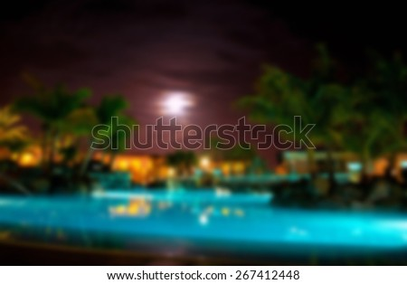 luxury vacation resort at night,blurred for presentation effect , abstract background - stock photo