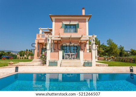 luxury villa exterior with pool and beautiful decoration