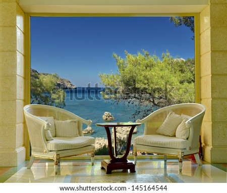 Luxury villa. The view from the window - stock photo