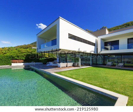 Luxury Villa with Infinity Pool - stock photo