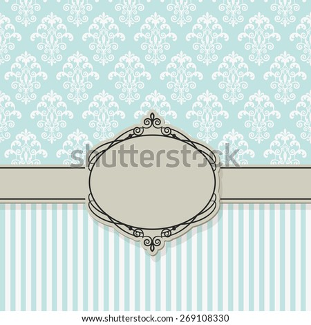 Luxury vintage frame on damask and striped seamless patterns. Baroque style. Raster copy. - stock photo