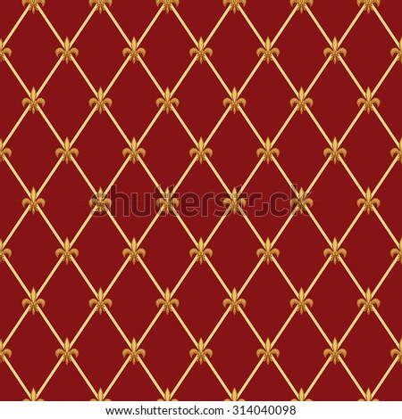 Luxury vintage seamless pattern with  golden fleur de lis on diamond shape grid background, ideal for curtains textile or bed linen fabric or interior wallpaper design etc - stock photo
