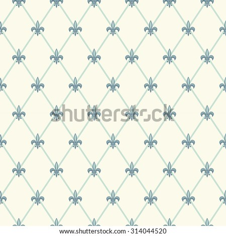 Luxury vintage seamless pattern with turquoise fleur de lis on diamond shape grid background, ideal for curtains, home textile or bed linen fabric or interior wallpaper design etc - stock photo