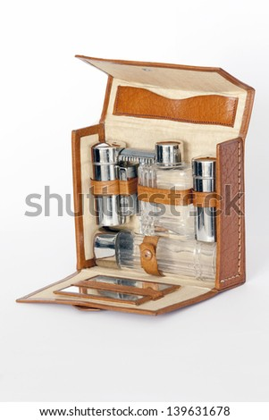 Luxury vintage shaving kit isolated on White with two accessories out. Shaving kit.