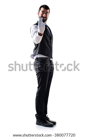 Luxury waiter coming gesture