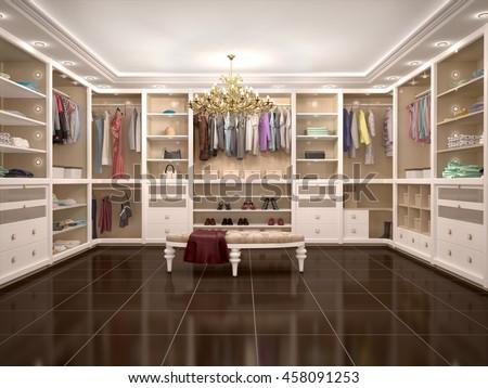 luxury wardrobe in modern style 3d