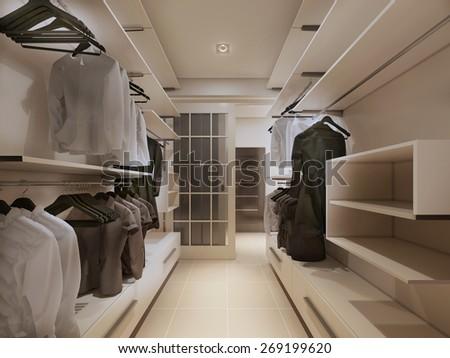 Luxury wardrobe in modern style. 3d render - stock photo