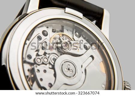 Luxury watch,  closeup  view of watch mechanism  - stock photo