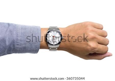 luxury watch on man's wrist over white background - stock photo