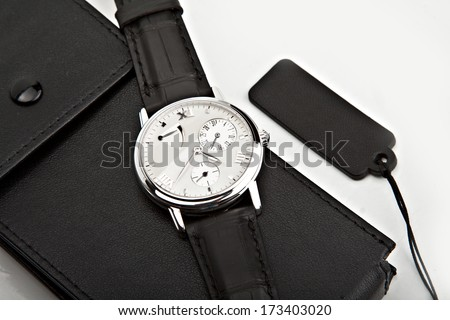 luxury watch with box swiss made - stock photo
