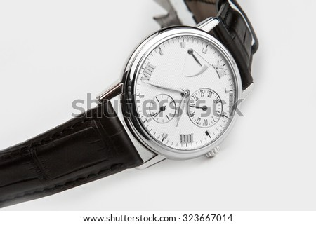 Luxury watch,  with calendar   - stock photo