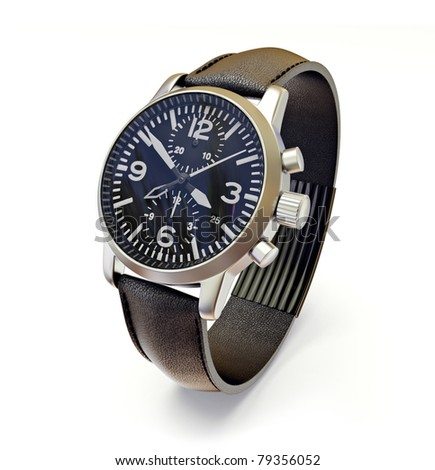 luxury watches with a leather strap on a  white  background - stock photo