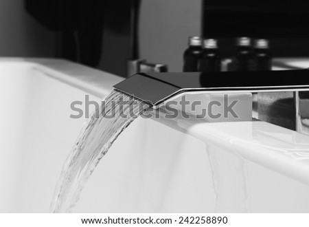luxury water tap in spa  - stock photo