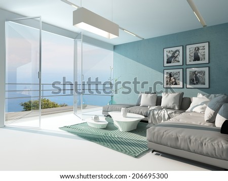 Luxury waterfront apartment living room with a floor-to-ceiling glass window overlooking the ocean with patio doors and an aquamarine accented side wall and carpet - stock photo