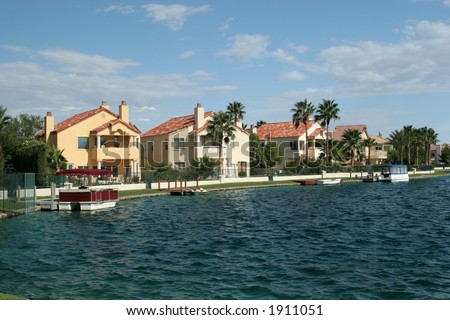 Luxury waterfront homes - stock photo