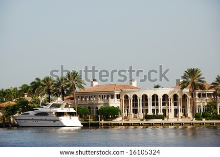 Luxury Waterfront Mansion in Fort Lauderdale - stock photo