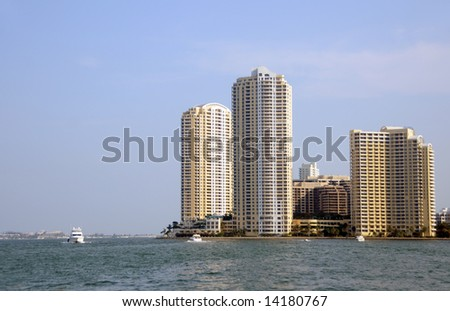 Luxury waterfront residences under construction in Miami, Florida - stock photo