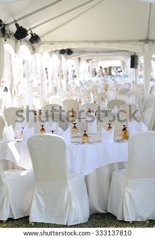 Luxury wedding lunch table - stock photo