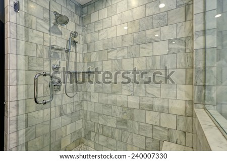 Luxury white and grey marble bathroom interior. - stock photo