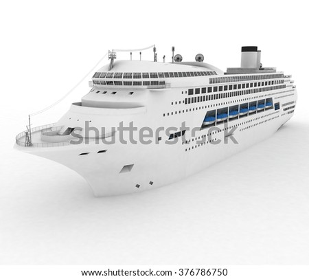 Luxury white cruise ship. 3d render illustration - stock photo