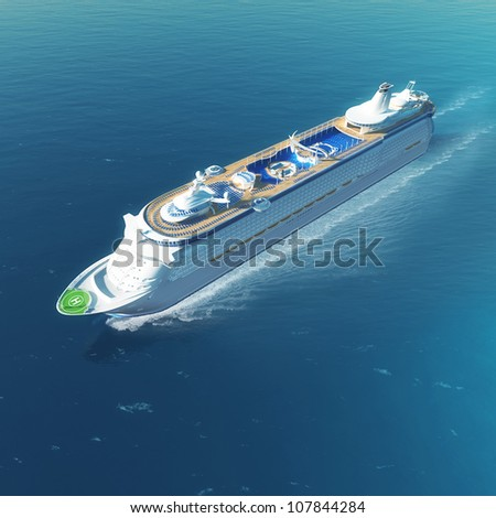 Luxury white cruise ship with heliport and pools sailing on the sea - stock photo