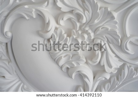 Luxury white wall design bas-relief with stucco mouldings roccoco element - stock photo