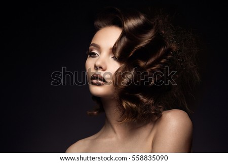 Luxury woman portrait with perfect hair and make-up