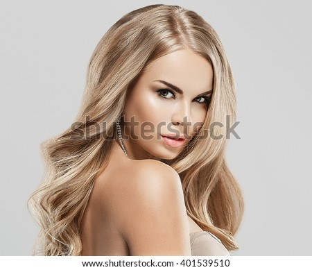 Luxury woman portrait with perfect hair and make-up blonde  - stock photo