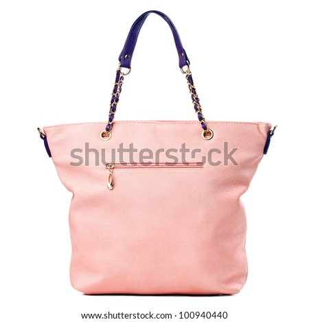 Luxury women tote bag isolated over white - stock photo