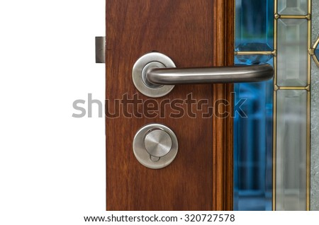 Luxury wooden door element, isolated on white background - stock photo