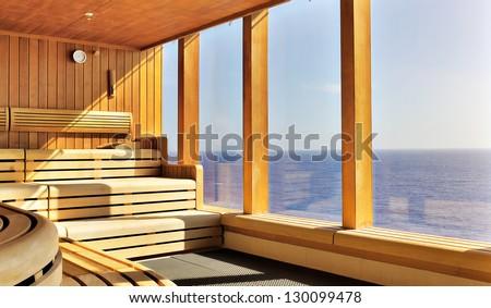 luxury wooden sauna - stock photo