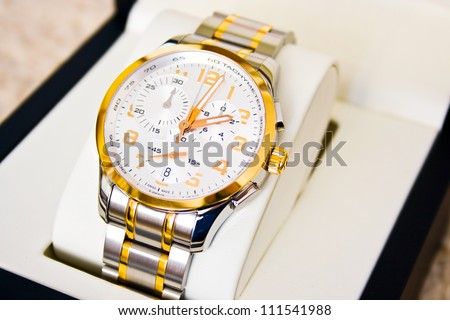 Luxury wrist watch isolated in a special gift box - stock photo
