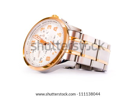 Luxury wrist watch isolated on a white background - stock photo