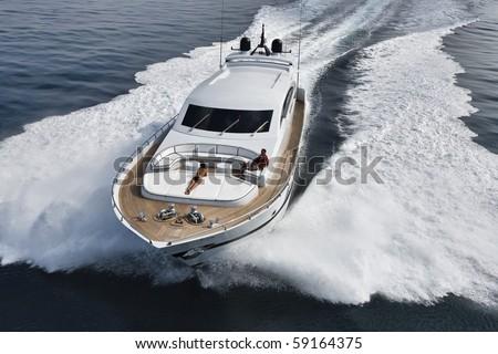 luxury yacht, aerial view - stock photo