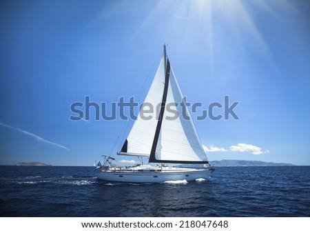 Luxury yacht at sea race. Sailing regatta. Cruise yachting. - stock photo