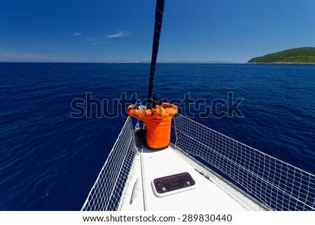 Luxury yacht at sea race. Sailing regatta. Cruise yachting - stock photo