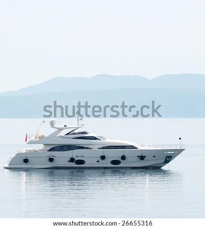 Luxury yacht on the sea - stock photo