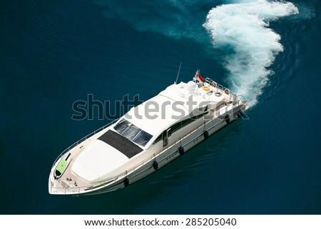 Luxury yacht sailing in Mediterranean Sea near French Riviera, Monaco  - stock photo