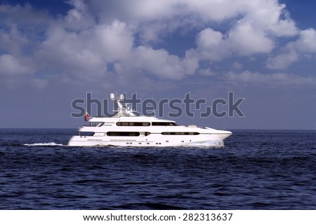 Luxury yacht sailing in open waters