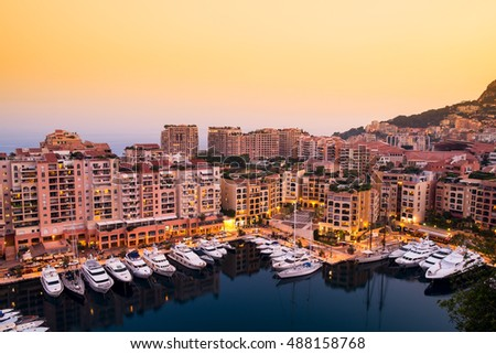 Luxury yachts and elite apartments in the port of Monaco