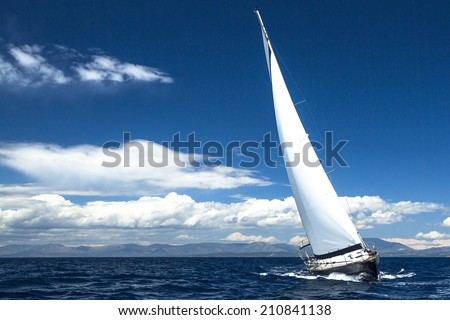 Luxury yachts. Boat in sailing regatta (with space for text) - stock photo