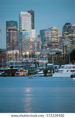 Luxury Yachts Boats Lake Union Seattle Downtown City Skyline - stock photo