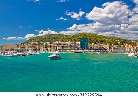 Luxury yachts in colorful Split harbor summer view, Dalmatia, Croatia - stock photo